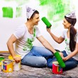 Family paint wall at home. — Stock Photo #39262915