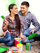 Family paint wall at home. — Stockfoto