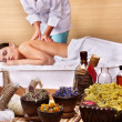 Young woman on massage table in beauty spa. Series. — Stock Photo #3955832