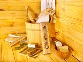 Stilleven met sauna accessoires. — Stockfoto