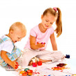 Stock Photo: Family painting by finger paint