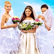 Group bride summer outdoor — Stock Photo
