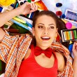 Woman with paint palette — Stock Photo #40153723