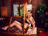 Woman having Ayurveda sauna — Stock Photo