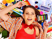 Woman with paint palette — Stock Photo