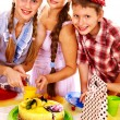 Birthday party group of child with cake. — Stock Photo #40597837