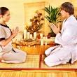 Women at bamboo spa . — Stock Photo