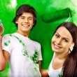 Family paint wall at home. — Stock Photo #40597775