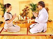 Women at bamboo spa . — Stockfoto