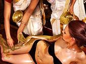 Woman having Ayurvedic body spa massage. — Stock Photo