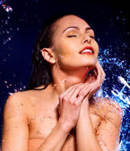 Wet woman face — Stock Photo