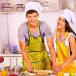 Young cook cooking at kitchen. — Stock Photo #42402679