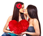 Two sexy lesbian women kissing in erotic foreplay game — Stock Photo