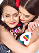 Two lesbian women with heard  in erotic foreplay game — Stock Photo
