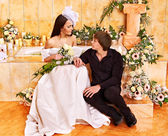 Couple spend wedding night. — Stock Photo