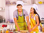 Young cook cooking at kitchen. — Stock Photo