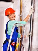 Woman in builder uniform. — Zdjęcie stockowe