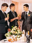 Group men people at stage party . — Stock Photo