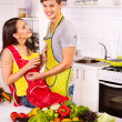 Couple cooking at kitchen. — Stock Photo #42854231