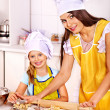 Mother and grandchild baking cookies. — Stock Photo #42854281