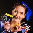 Woman builder with construction tools. — Stock Photo