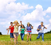 Group people summer outdoor. — Stock Photo