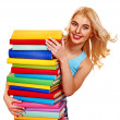 Student with stack book. — Stock Photo #44263843