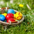 Easter eggs in basket on green grass. — Stock Photo #44264047