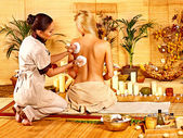 Woman getting herbal ball massage  . — Foto Stock
