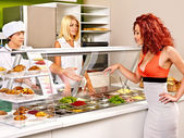 Group people at cafeteria. — Stock Photo