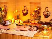Woman getting stone therapy massage . — Foto de Stock