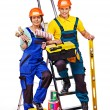 Couple builder with construction tools. — Stock Photo #46650111