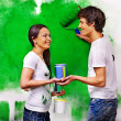 Family paint wall at home. — Stock Photo #46650145