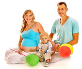 Family with pregnant woman and child. — Stock Photo