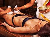 Woman having Ayurvedic feet spa massage. — Stock Photo