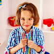 Child with pencils — Stock Photo