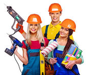 Group of people builder  with construction tools. — Stock Photo
