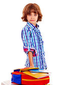 Child with stack of books. — Stock Photo