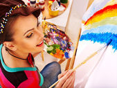 Female artist at work. — Stock Photo