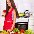 Woman cooking breakfast at kitchen. — Stock Photo #47344163