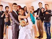 Group people at wedding dance. — Стоковое фото