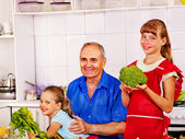 Family cooking at kitchen. — Stock Photo