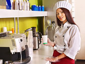 Woman with coffee machine. — Stock Photo