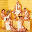 Group of people in Santa hat at sauna. — Stock Photo #47787663