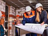 Business woman in builder helmet . — Stok fotoğraf