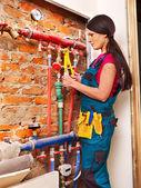 Repairmen with special tool. — Stok fotoğraf