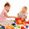 Children play building blocks. — Stock Photo #48112363