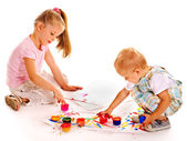Child painting by finger paint. — Stock Photo