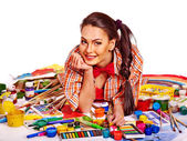 Artist woman with paint palette. — Zdjęcie stockowe