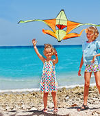 Little girls playing with  kite — Stock Photo
